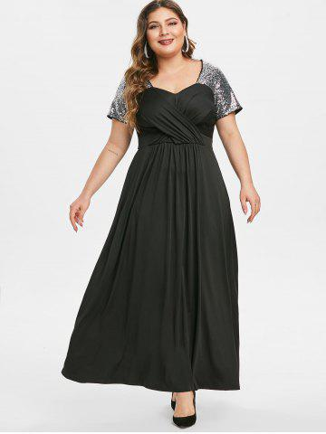 Plus Size Sequin Crossover Maxi Prom Dress
