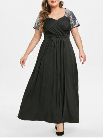 Plus Size Sequin Crossover Maxi Prom Dress - BLACK - 2X