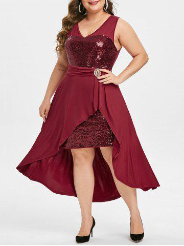Plus Size Sequined High Low Party Cocktail Dress - RED WINE - L