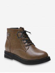 Simple Style Leather Cargo Ankle Boots -