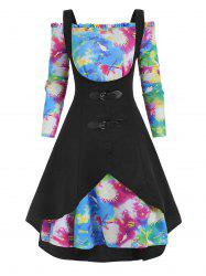 Plus Size High Low Tank Top and Galaxy Tie Dye Off Shoulder Dress -