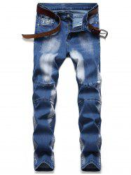 Casual Zip Fly Faded Jeans -