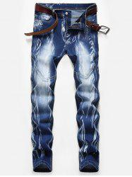 Stitching Design Print Zip Fly Jeans -