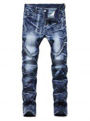 Leisure Printed Zipper Fly Jeans -
