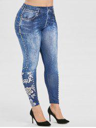 Plus Size Flower Print High Waisted Skinny Jeggings -