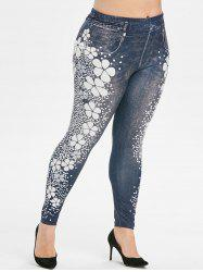 Plus Size Flower Polka Dot High Waisted 3D Jeggings -