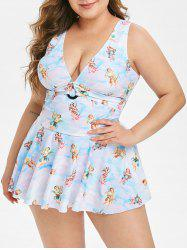 Plus Size Angel Tie Dye Plunging Skirted One-piece Swimsuit -