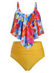 Plus Size Floral Overlay Ruched High Waist Tankini Swimsuit -