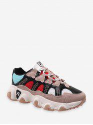 Mesh Panel Leather Low Top Dad Sneakers -
