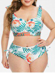 Plus Size Floral Leaf Knot Cinched Push Up Bikini Swimsuit -