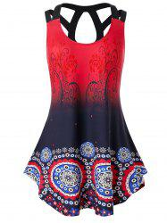Plus Size Ombre Printed Cut Out Tunic Tank Top -