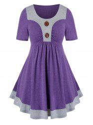 Plus Size Two Tone Ruched Buttoned Tunic Tee -