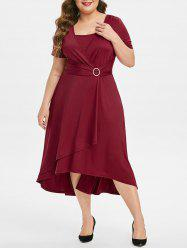 Plus Size Overlap Ring High Waisted Midi A Line Dress -