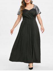 Plus Size Sequin Crossover Maxi Prom Dress -
