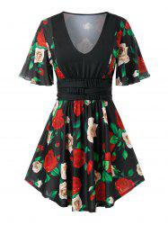 Plus Size Floral Skirted Tunic T Shirt -