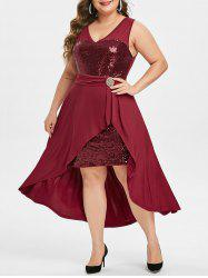 Plus Size Sequined High Low Party Cocktail Dress -