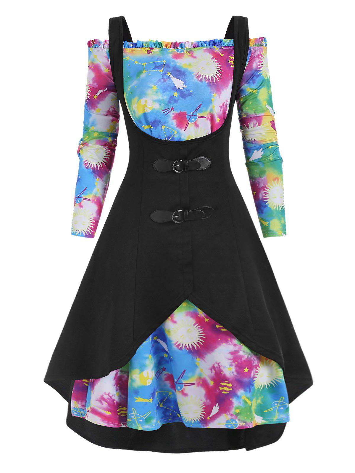 Store Plus Size High Low Tank Top and Galaxy Tie Dye Off Shoulder Dress