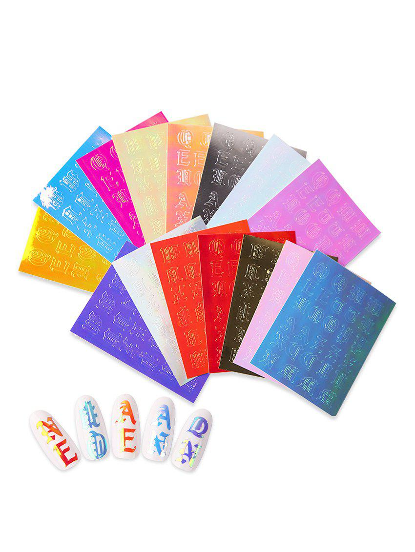 Outfits 16Pcs Letter Pattern Decorative Magic Nail Stickers