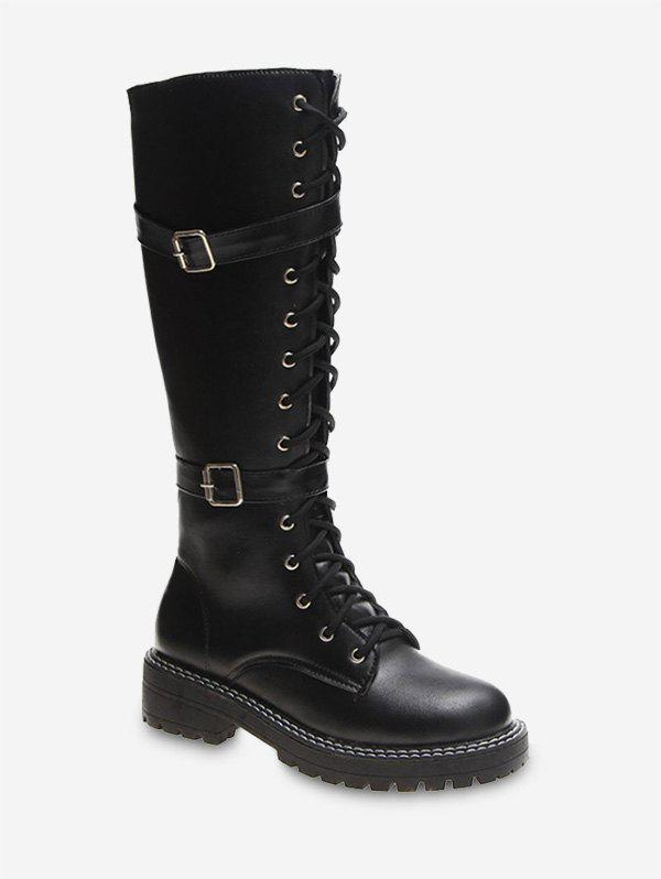 Fashion Dual Buckle Lace Up Knight Knee High Boots