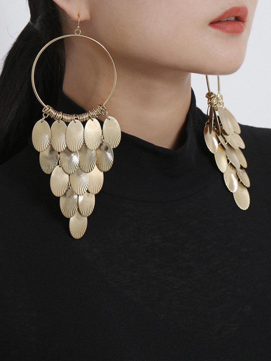 Alloy Sequins Circle Hook Drop Earrings, Gold