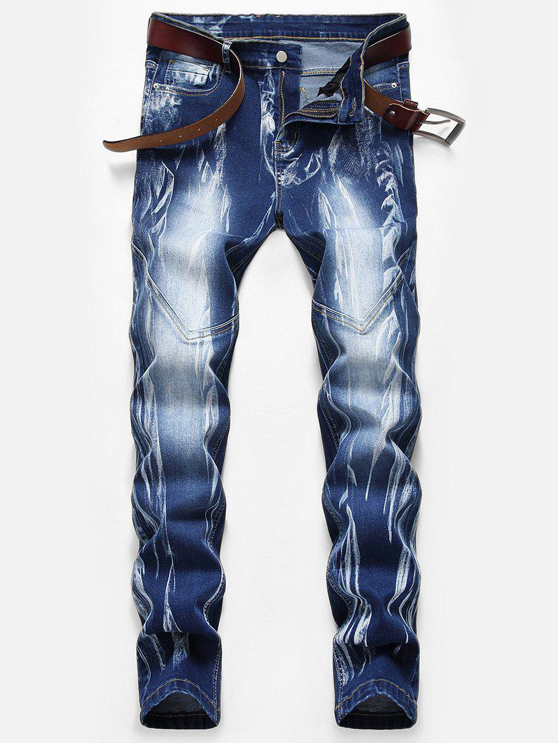 Hot Stitching Design Print Zip Fly Jeans