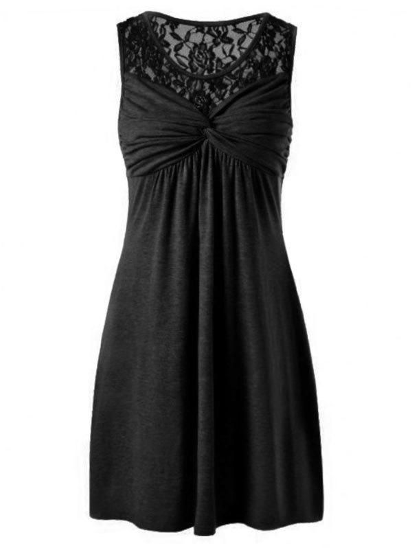 Outfit Lace Panel Twist Front Sleeveless Dress