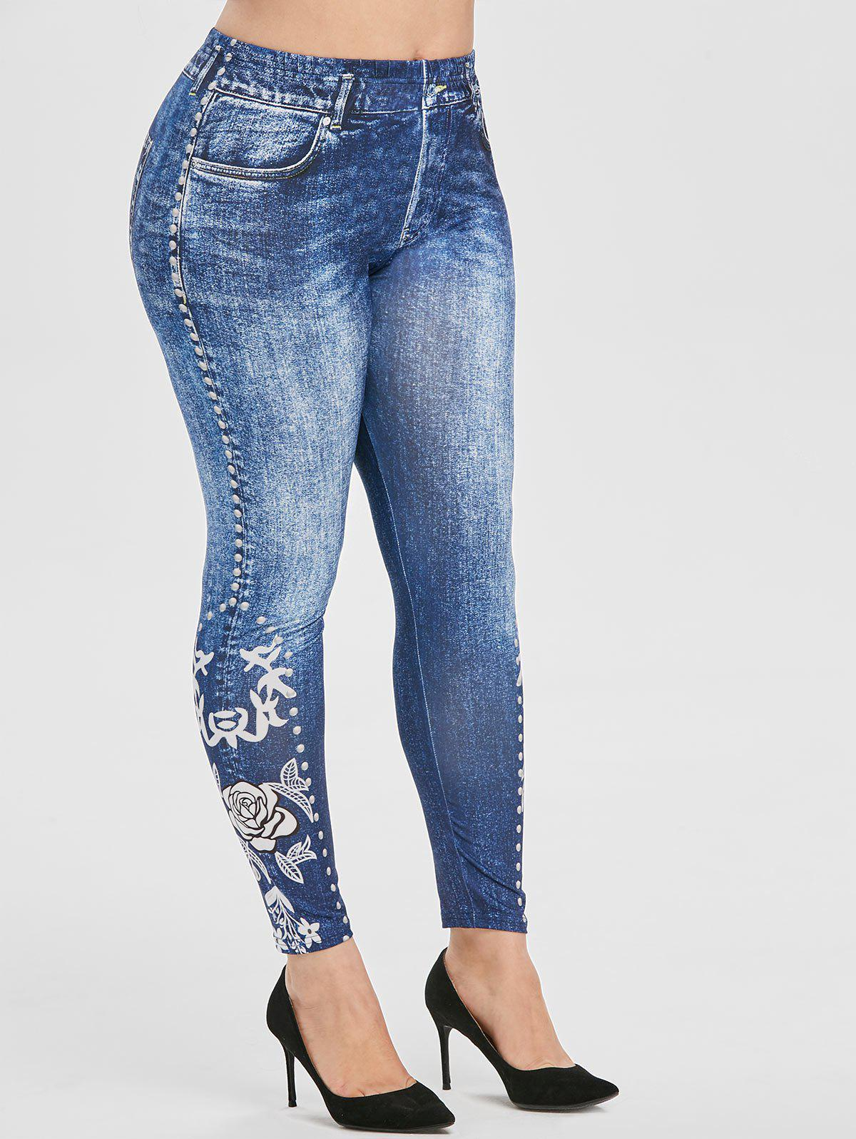 Plus Size Flower Print High Waisted Skinny Jeggings фото