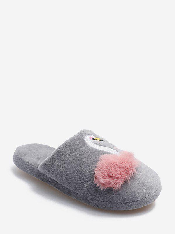 Affordable Swan Graphic Plush Closed Toe Indoor Shoes
