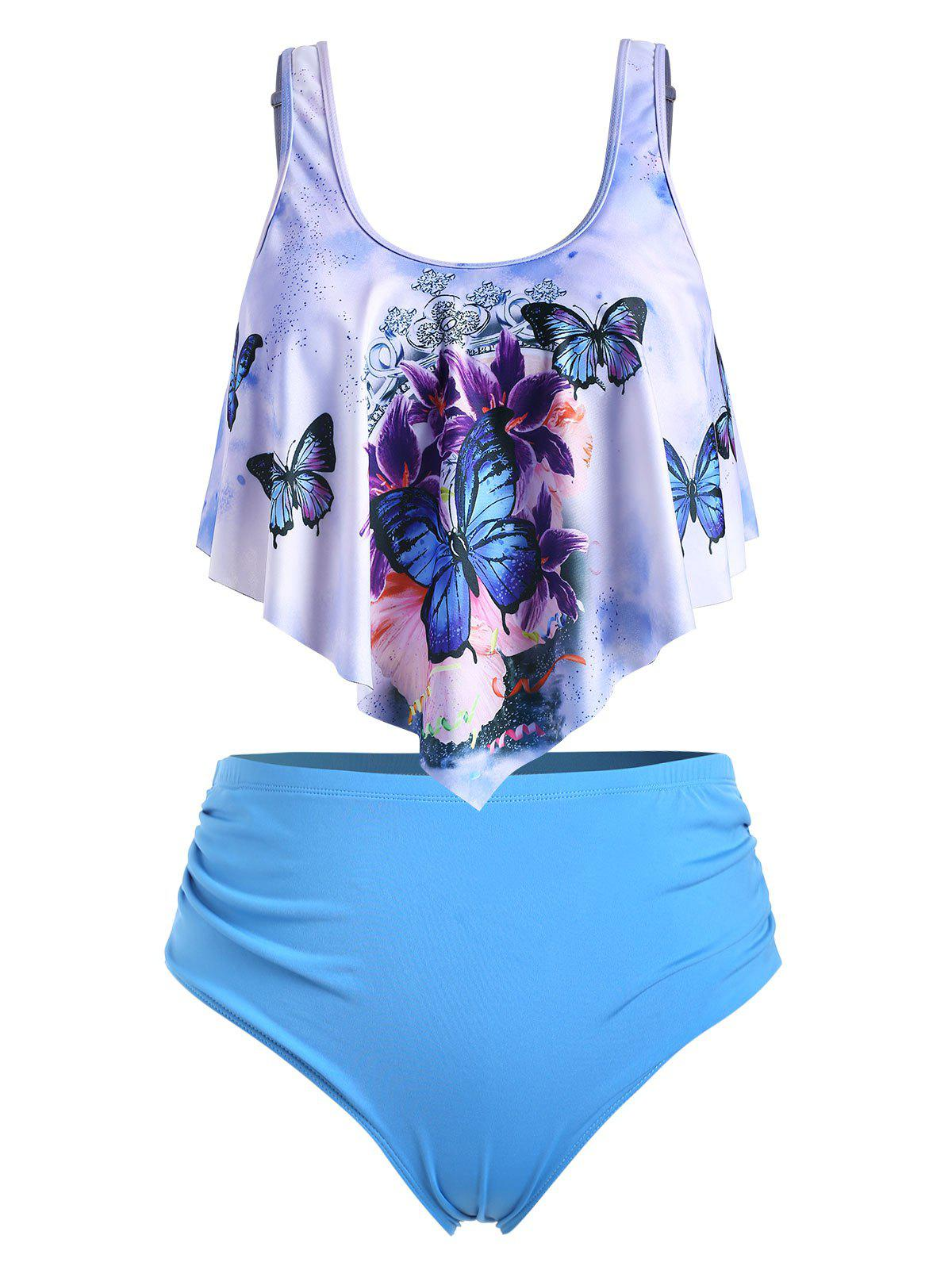 Cheap Plus Size Butterfly Print Overlay Tankini Swimsuit