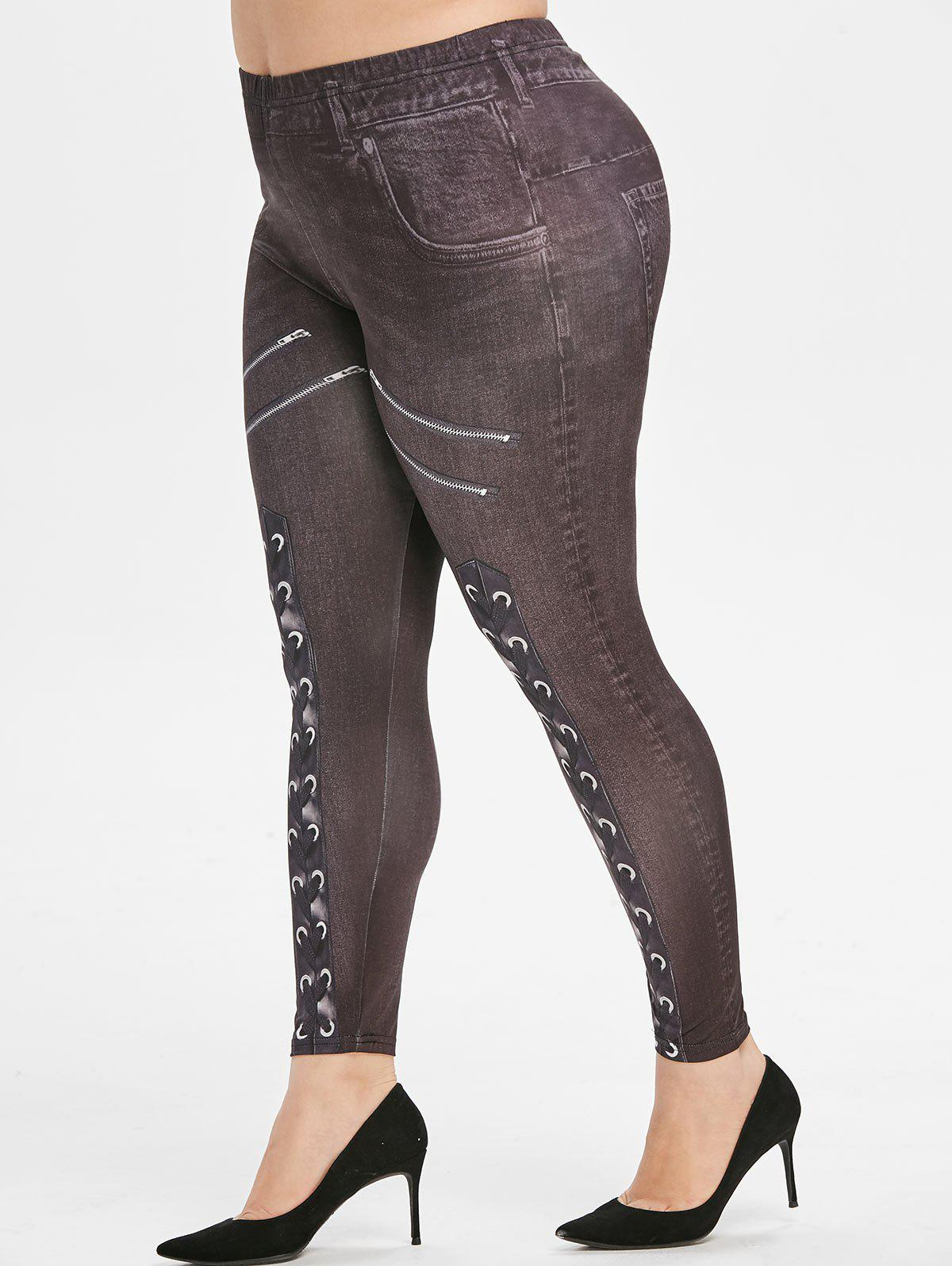 Plus Size 3D Lace-up Zip Print High Waisted Jeggings фото