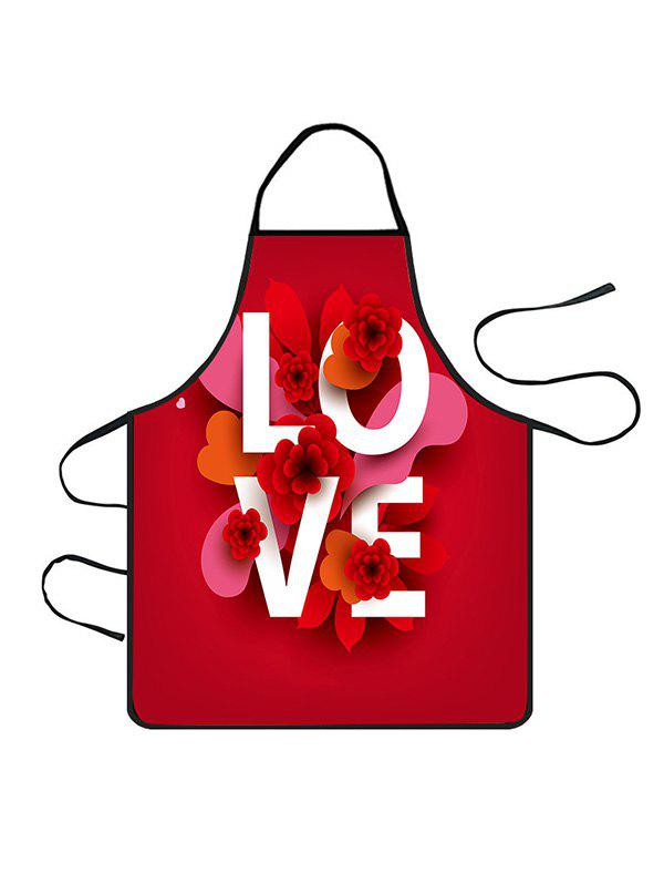 Fashion Valentines Day LOVE Flower Print Cooking Apron