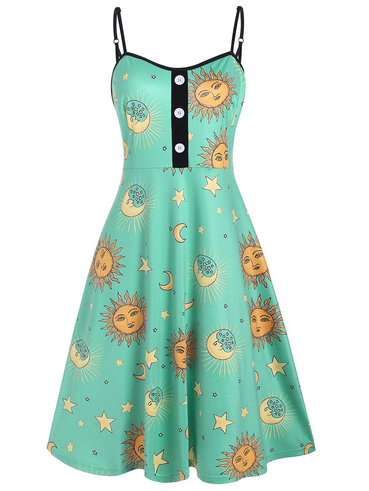 Cheap Mock Buttons Star Sun And Moon Plus Size Cami Dress