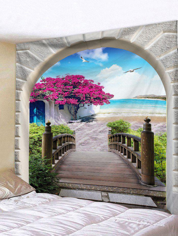 Seaside Flower Tree Arch Print Tapestry Wall Hanging Art Decoration, Light sky blue