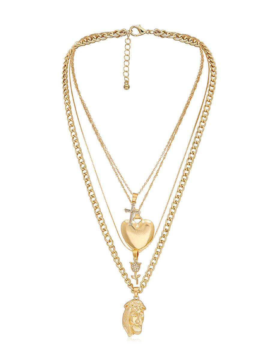 Outfit Rhinestone Crucifix Flower Heart Layered Pendant Necklace