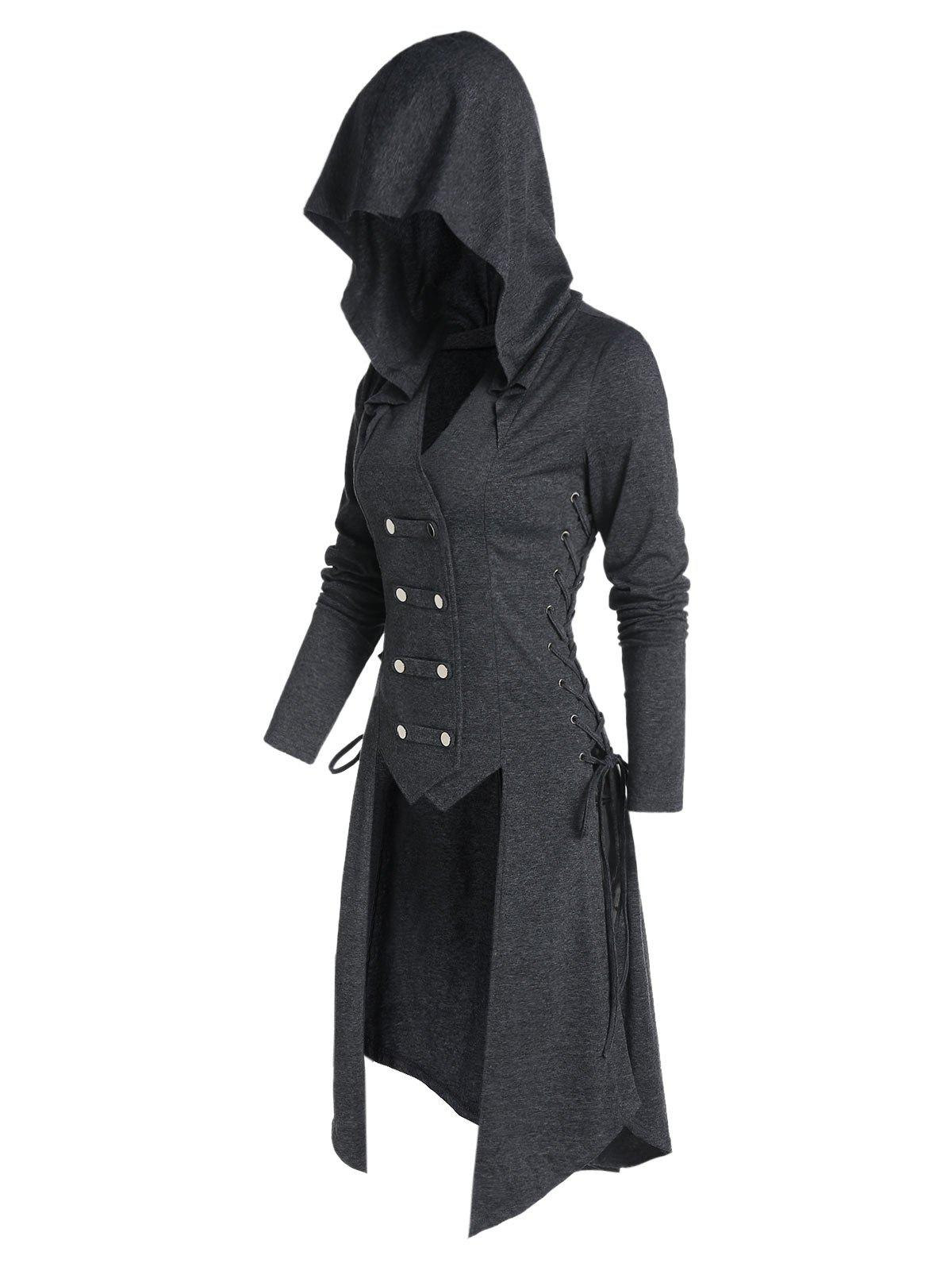 Fancy Hooded Button Up Lace-up High Low Steampunk Coat