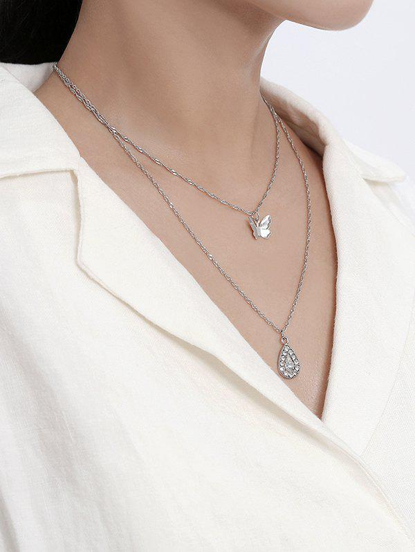 Store Double Layer Butterfly Teardrop Pendant Necklace