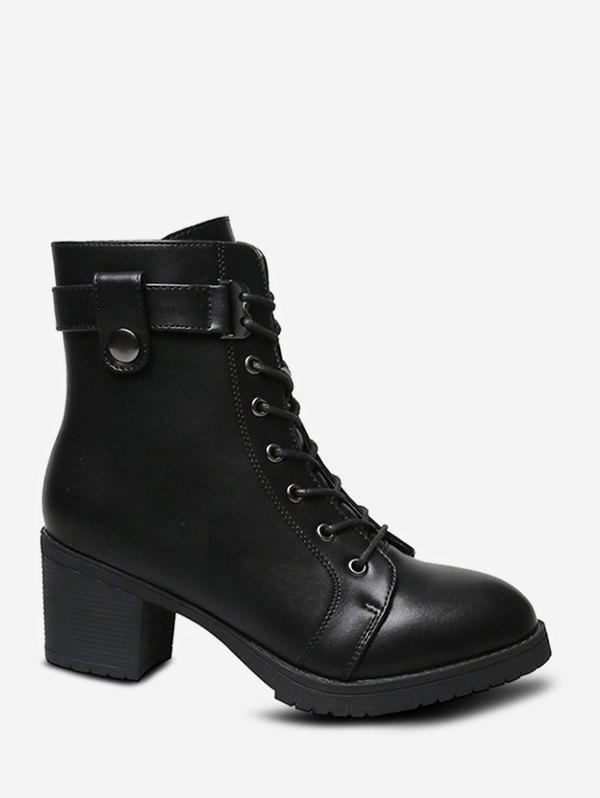 Shops Mid Heel Leather Lace Up Ankle Boots
