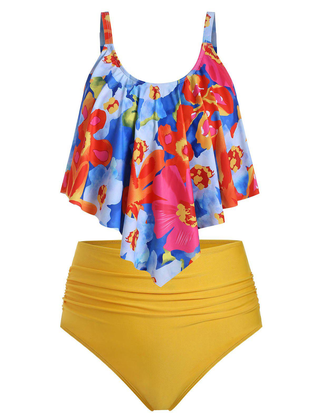 Affordable Plus Size Floral Overlay Ruched High Waist Tankini Swimsuit