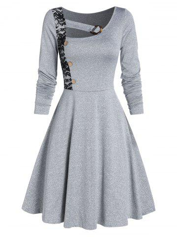 Lace Insert Mock Button Marled Flare Dress