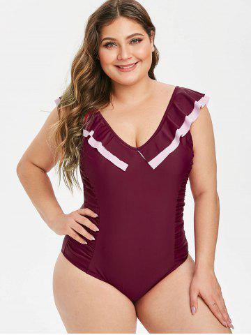 Plus Size Ruched Flounce Backless One-piece Swimsuit
