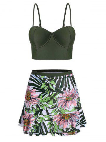 Floral Leaf Push Up Skirted Tankini Swimsuit - FERN GREEN - S