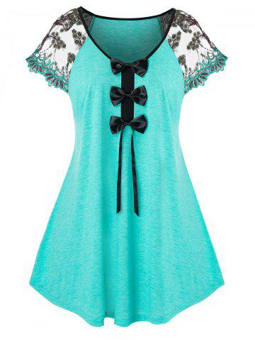 Plus Size Bowknot Embroidered Sleeve T Shirt - MEDIUM TURQUOISE - 3X