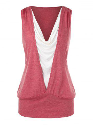 Plus Size Splicing Two Tone Tank Top - RED DIRT - 3X