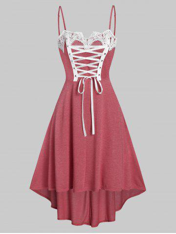 Lace Up Cami High Low Dress