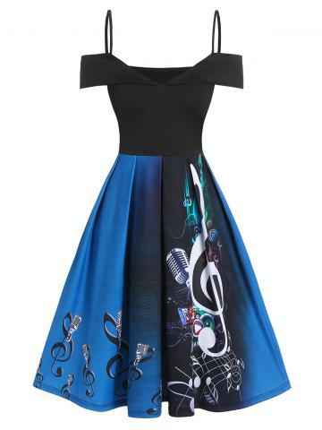Music Notes Microphone Print Open Shoulder Skater Dress - BLACK - M