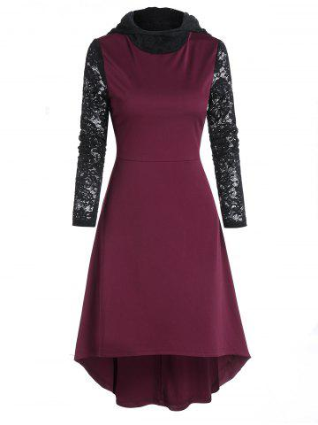 Lace Sleeve Hooded High Low Midi Dress