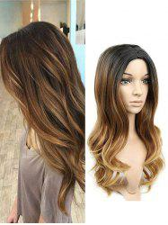 Gradient Long Middle Part Wavy Synthetic Wig -