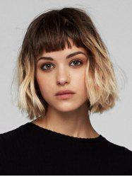 Short Full Bang Ombre Wavy Synthetic Wig -