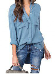 Button Up Front Pocket High Low Shirt -