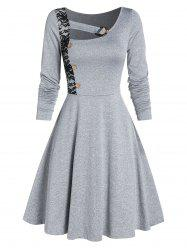 Lace Insert Mock Button Marled Flare Dress -